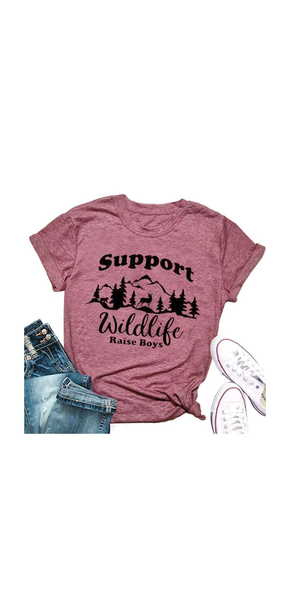 Support Wildlife Raise Boys Mountain Graphic Mom T Shirt Women
