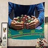 Grace Little Custom tapestry poker player taking poker chips after winning