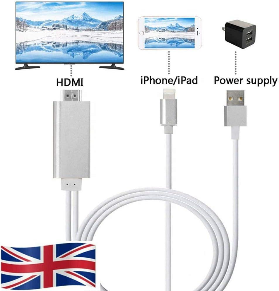 Cable adaptador de electricidad a AV HDMI/HDTV TV para Apple iPhone 7, 7 plus 5, 5C, 5S, 6, 6S y 6 Plus dorado 2 m: Amazon.es: Informática