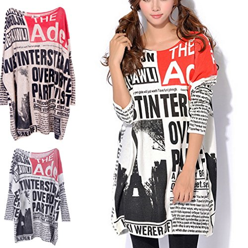 Oversize Longues Rond Sweater Imprim Pull Col Manches Ru Xiang SP5q44