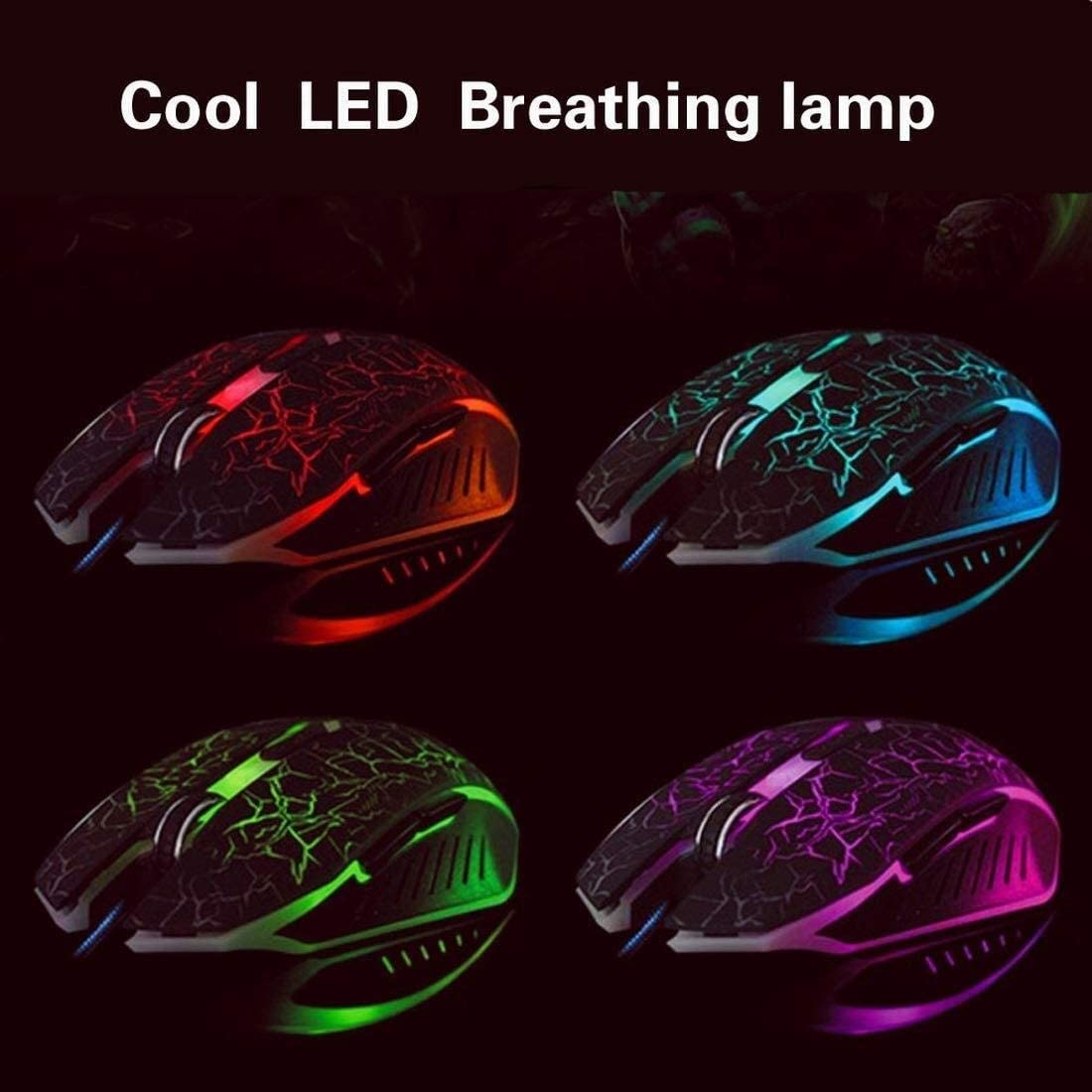 Wang5995 Office Home Mouse USB Wired Optical Gaming Mouse with Multiple Color Rainbow LED Backlit