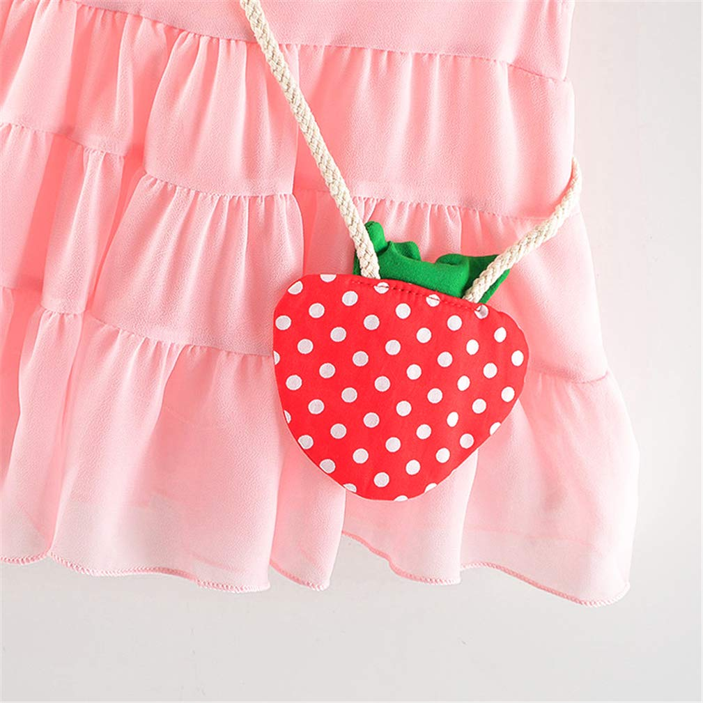 Karuedoo Baby Toddle Girls Tutu Dress Sleeveless A Line Tank Dress Cute Princess Dress+Strawberry Shoulder Bag