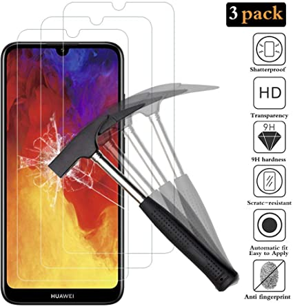 Premium Tempered Glass Screen Protector for Huawei Honor 8A // Huawei Y6 2019 Screen Protector for Huawei Honor 8A // Huawei Y6 2019, Conber Case Friendly Anti-Shatter Scratch-Resistant 2 Pack