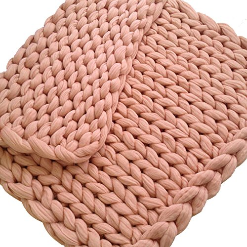 6 Colors Hand Chunky Knitted Blanket Solid Color Thick Wool Bulky Knitting Throw Blanket (Khaki, Size:100120cm) by Bowake