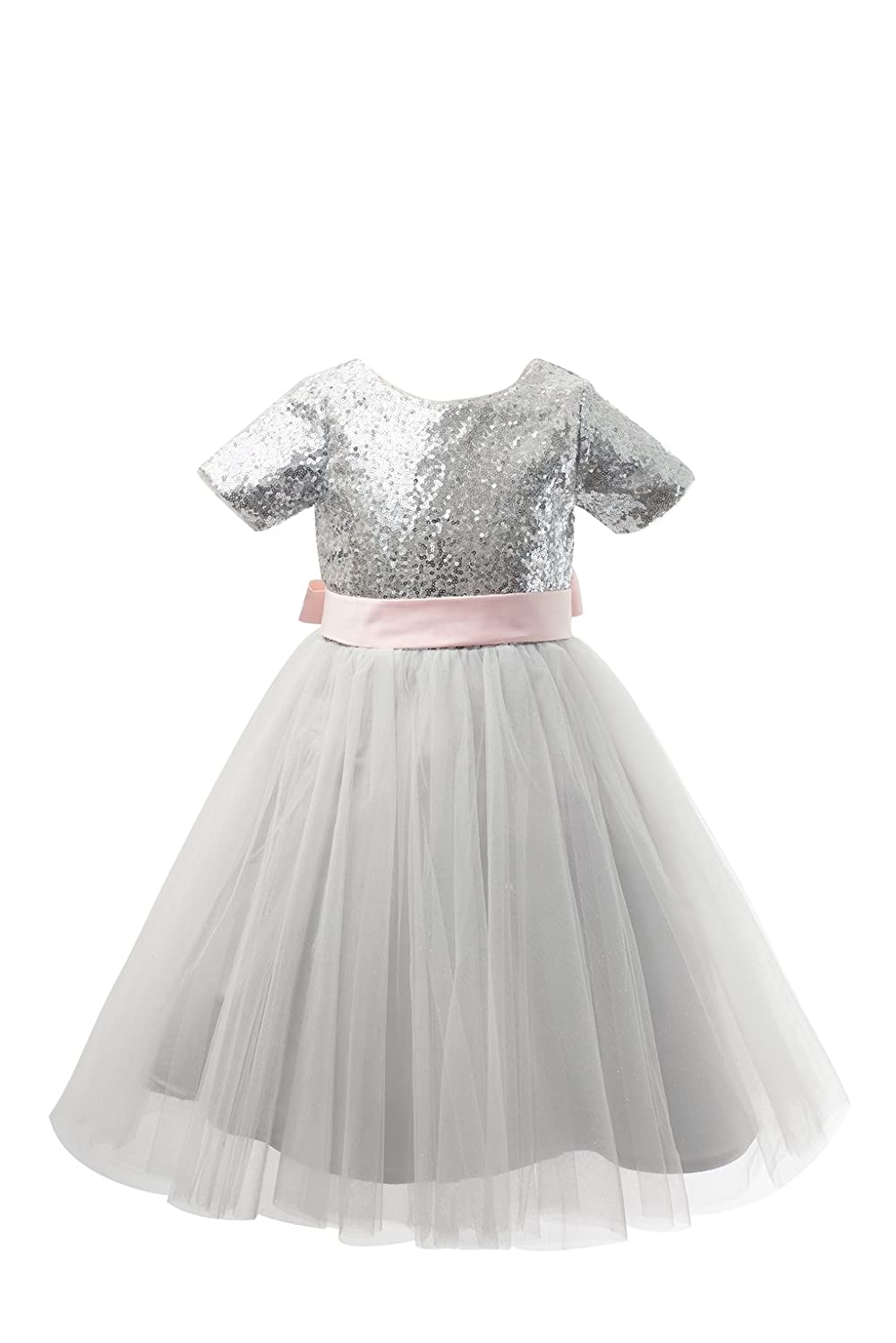 4deeb33b69eb Details about Silver Sequin Tulle Short Sleeves Wedding Flower Girl Dress  Junior Bridesmaid