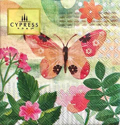 Cypress Home Pink Butterfly Cocktail Beverage Paper Napkins, 40-ct