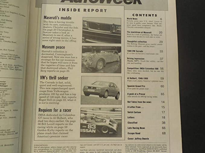 Auto Week Oct 10 1988 Maserati; Mazda MPV; Supercharged VW Corrado at Amazons Entertainment Collectibles Store