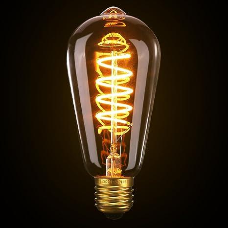 Vintage Edison Bombilla, Elfeland E27 Bombilla LED Bombilla Decorativa Vintage Filamento Espiral de Luz Suave 3W ...