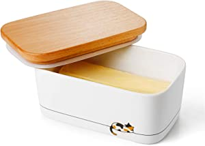 Sweese 303.159 Airtight Butter Dish with Lid - Butter Keeper Holds Up to 2 Sticks of Butter - Gift for Cat Lovers, Calico Cat