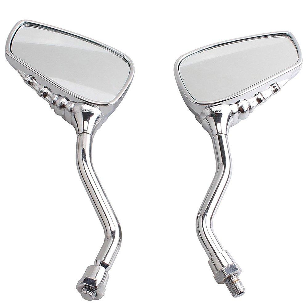 ViZe 10mm Side bar Mirrors Bar End Mirrors Universal Rear View Mirrors For Honda Kawasaki Suzuki BMW KTM Truimph Hyosung Chopper Street Sport Bike Motif Silver