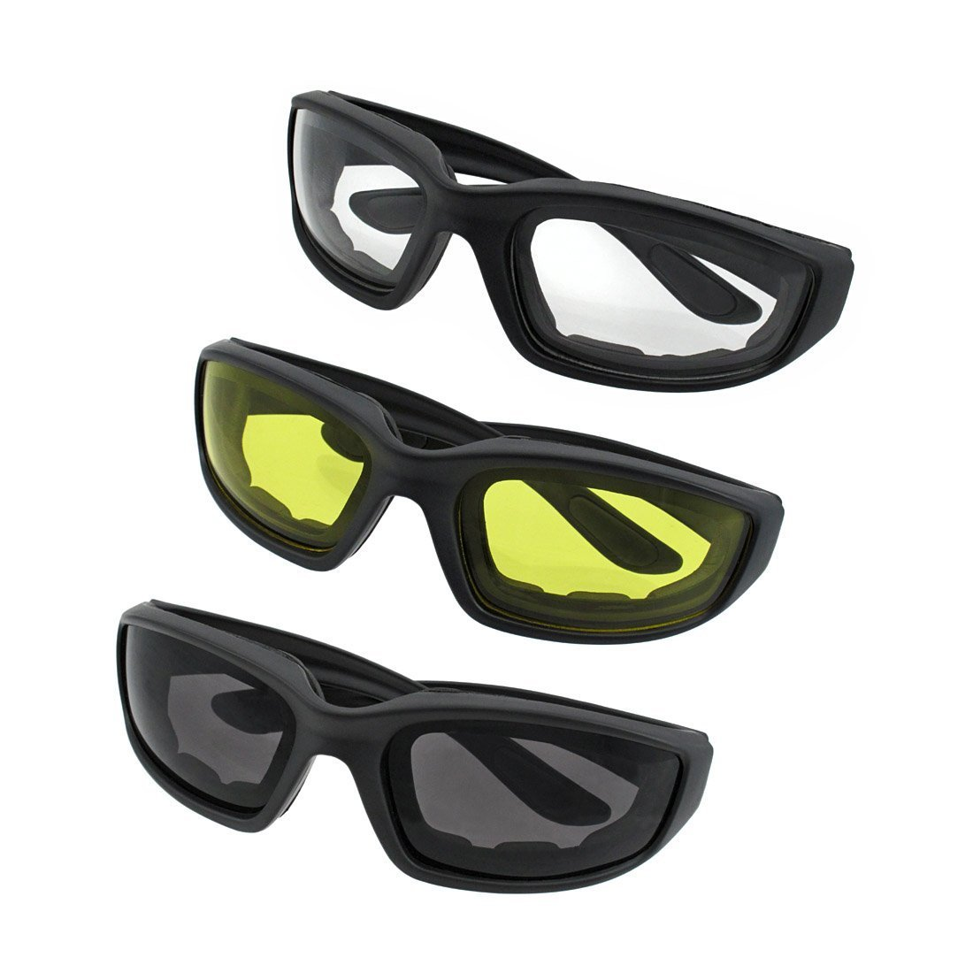 d27377a2aa Amazon.com  BundlePower 3 Pair Motorcycle Riding Glasses Smoke Clear  Yellow  Industrial   Scientific