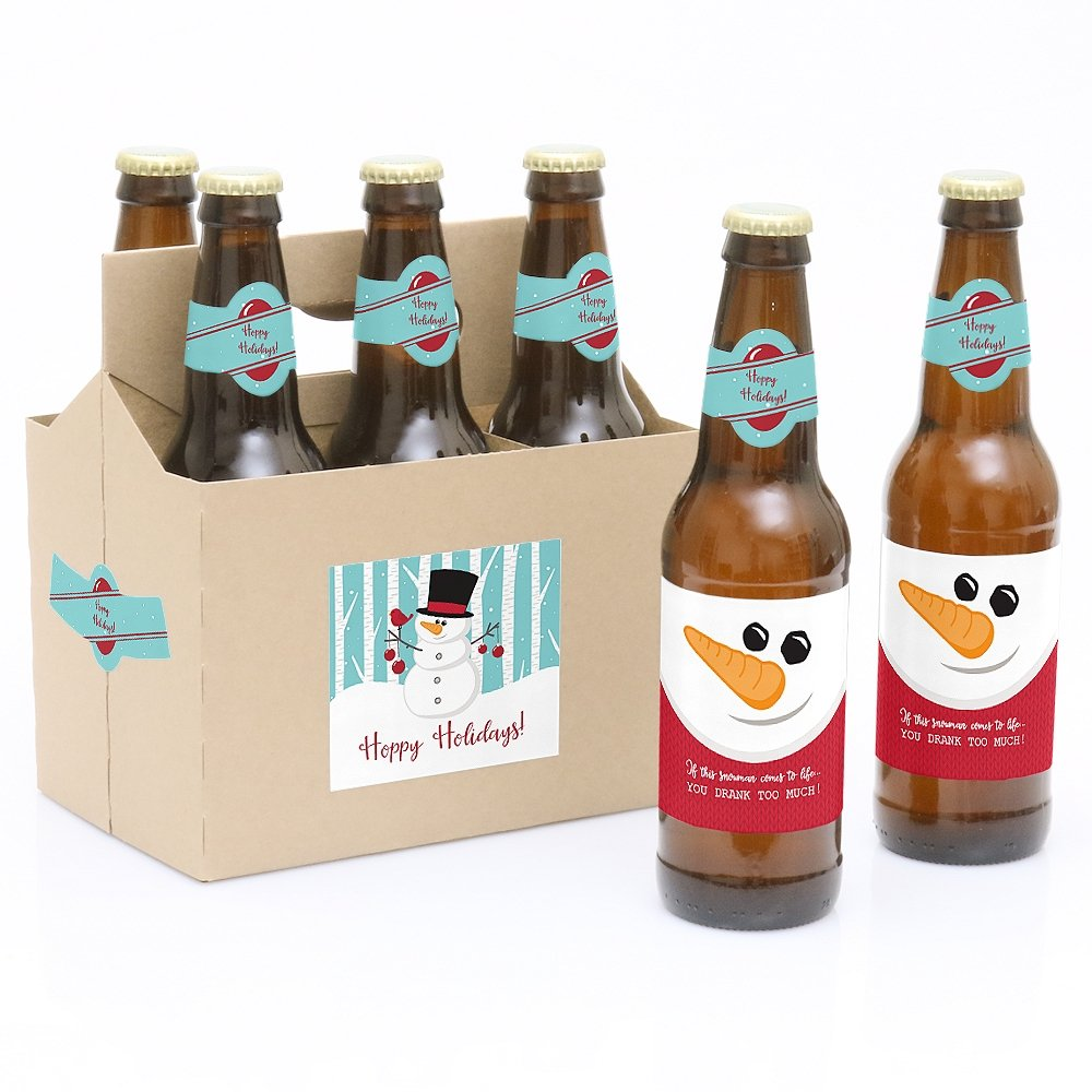 Let It Snow - Snowman - 6 Holiday & Christmas Beer Bottle Labels and 1 Carrier Big Dot of Happiness LLC BD7027btl