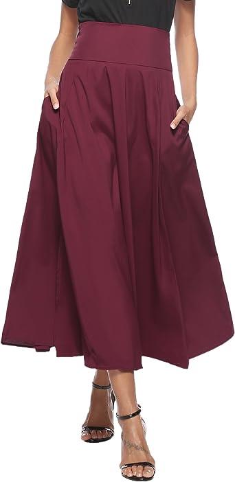Femmes Rétro Jupe Longue d'été Haute Taille Casual Plissé Maxi Belted Jupe de Plage avec Deux Poches Fille A Line Jupe avec Fente Avant Ceinturé