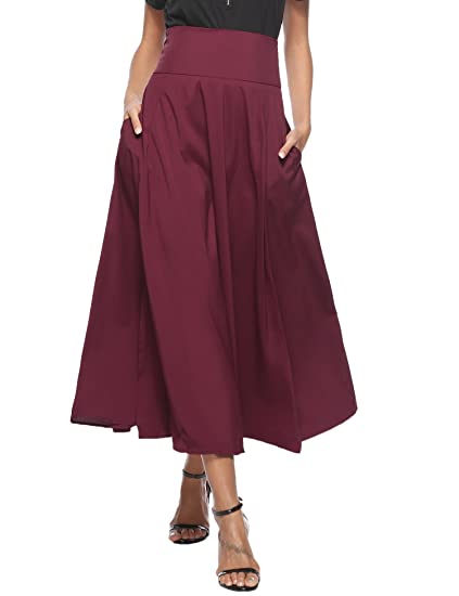adca8b013d1ca Femmes Rétro Jupe Longue d'été Haute Taille Casual Plissé Maxi Belted Jupe  de Plage avec Deux Poches Fille A-Line Jupe avec Fente Avant Ceinturé