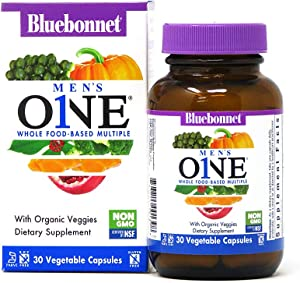 Bluebonnet Nutrition Men's One Vegetable Capsule, Whole Food Multiple, K2, Organic Vegetable, Energy, Vitality, Non-GMO, Gluten Free, Soy Free, Milk Free, Kosher, 30 Vegetable Capsules, 1 Month Supply