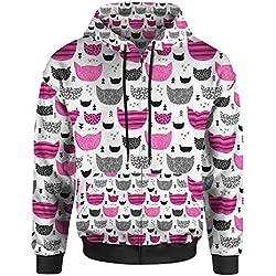 Inky Texture Cats Hot Pink - XS - Men Zip Up Hoodie