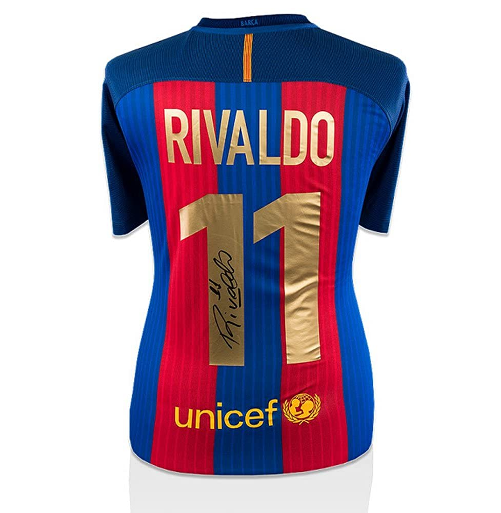 Icon Rivaldo Signiertes Barcelona Home Trikot 2016 2017 (Gold Fan Style Beflockung)