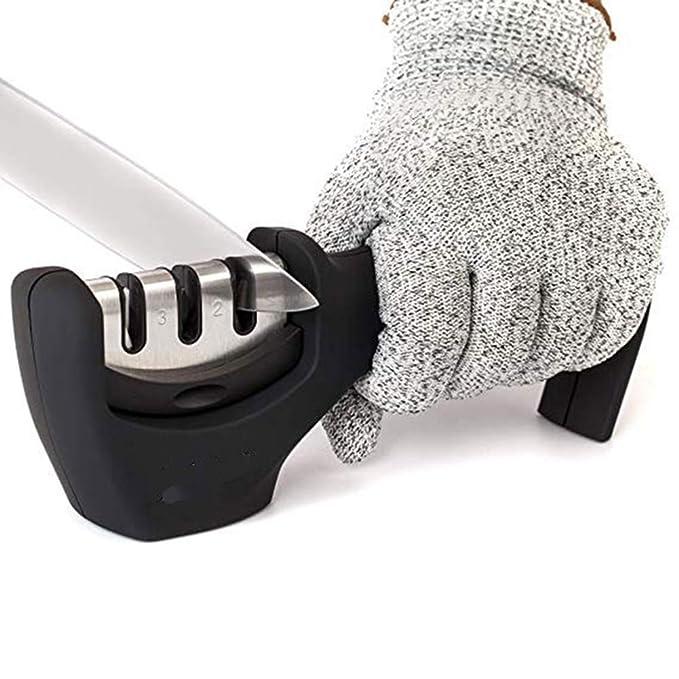 Amazon.com: EZLIFE cuchillo afilador de 3 etapas afilador de ...