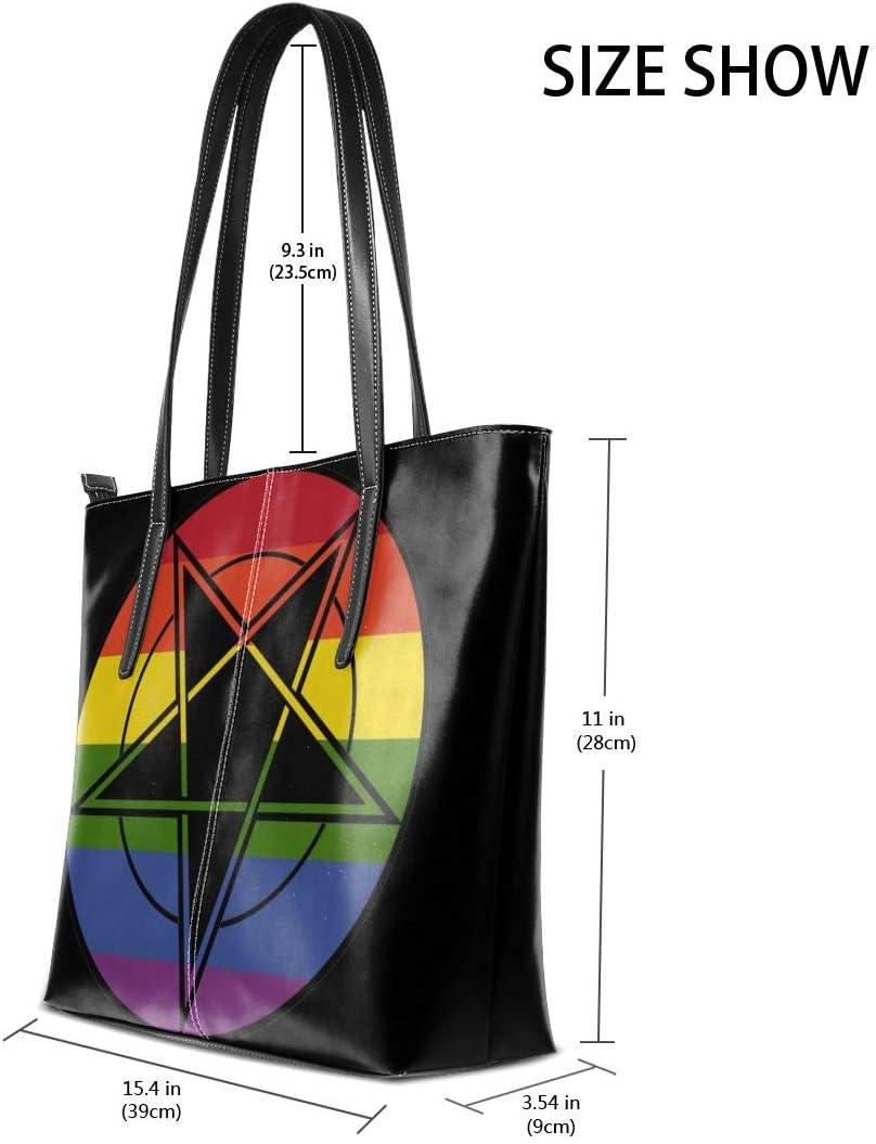Gay Pride Flag Wicca Wiccan Pentagram Men Men Women Leather Tote Bags Satchel Top Handle Cross Body Shoulder Hobo Handbags For Ladies Shopping Bag Office Briefcase