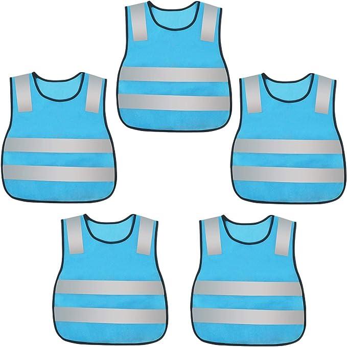 Aieoe Kinder Reflektierende Weste 5 Stück Atmungsaktive Sicherheitsweste Schutz Weste Blau Bekleidung