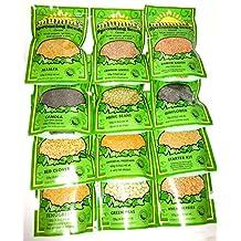 Microgreens 'Variety Pack': Alfalfa, Canola, Red Clover, Fenugreek, Crimson Lentils, Mung Beans, Oriental Mustard, Green Peas, Daikon Radish, Sunflower, Spring Wheat, Starter Kit