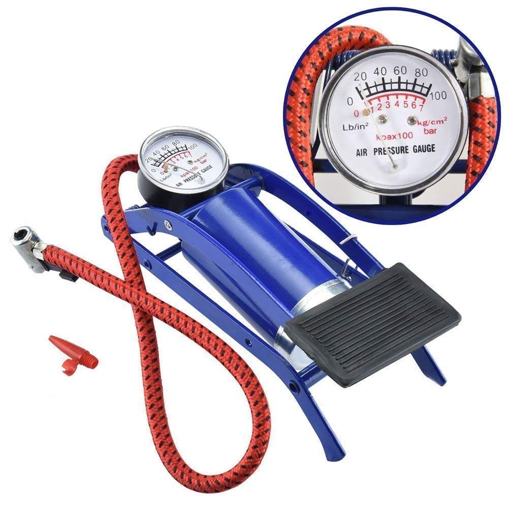 High Pressure Foot Pump, Bike Motorbike Inflation Pump with Pressure Gauge, Foot Pedal Inflator Single Barrel Cylinder Air Pump Inflation Pump for Motorcycles, Bicycle Tyre Balls, Tires Car by ADTALA product image