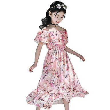 Livoral Vestido para niña, Falda Bohemia, para niños, Manga Corta ...