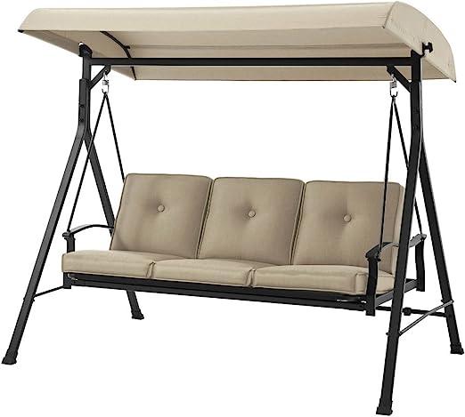Amazon Com Mainstay 3 Seat Porch Patio Swing 3 Porch Swing Tan Garden Outdoor