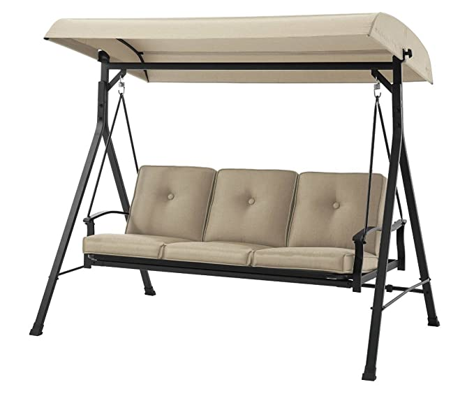 Mainstay 3 Seat Porch & Patio Swing – The Swing that Fully Reclines To Lie Flat