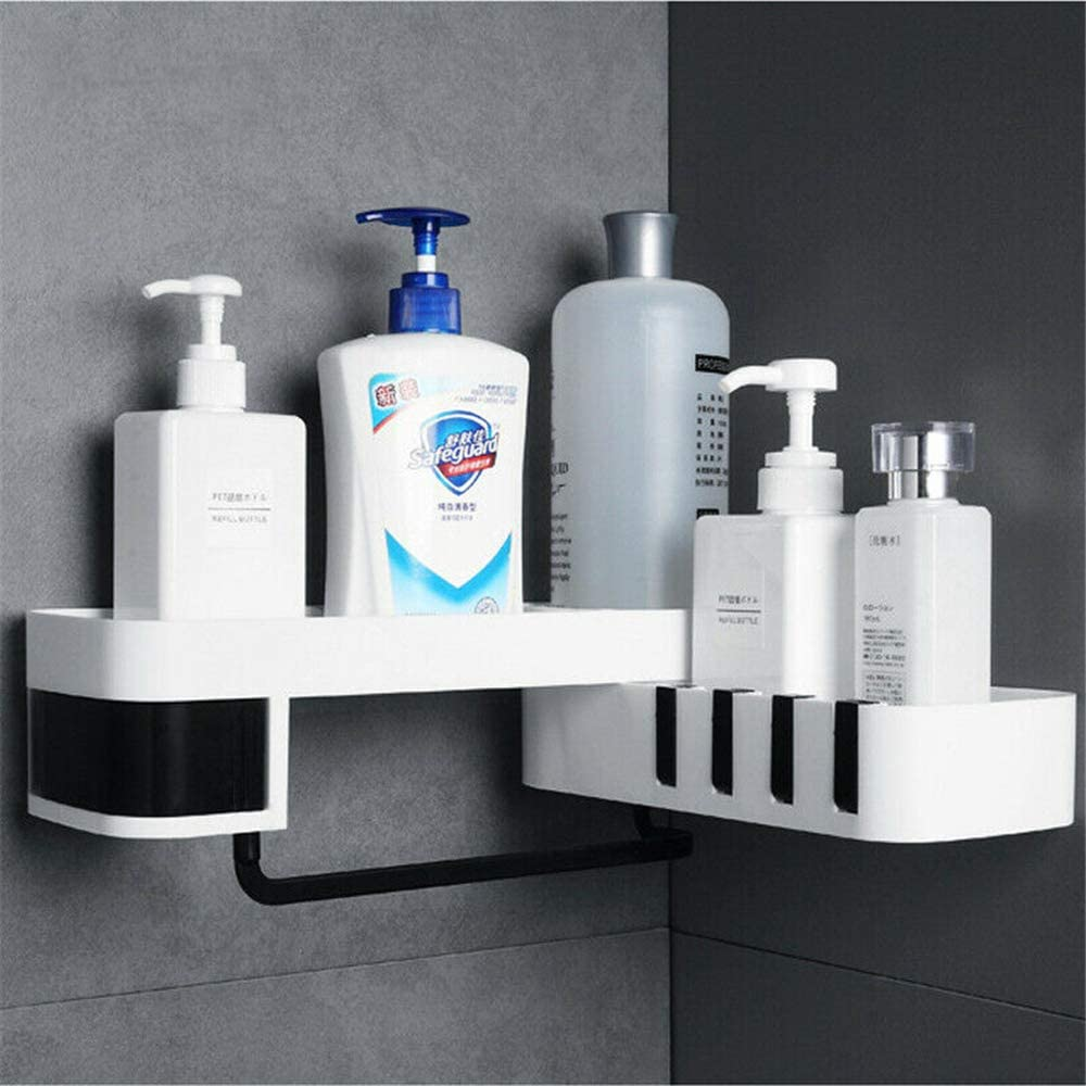 1//2PCS Corner Storage Rack Holder Shelf Bathroom Toilet Bath Seamless Rotating