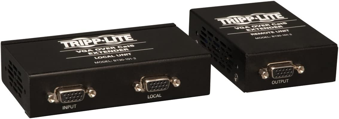 Tripp Lite VGA over Cat5 / Cat6 Extender, Transmitter and Receiver with EDID Copy, 1920x1440 at 60Hz(B130-101-2)
