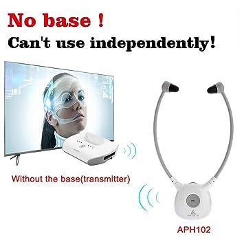 Audífonos Auriculares, Artiste APH100 el viejo TV auriculares HIFI Auriculares inalámbrico de 2,4 GHz con comercial instalación para TV Teléfono ordenador: ...