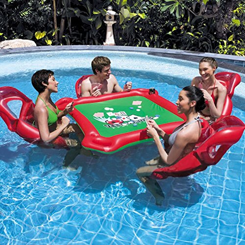 Price comparison product image Toponechoice 4 person inflatable seat table floating on water drainage protection PVC water inflatable floating table poker table inflatable table