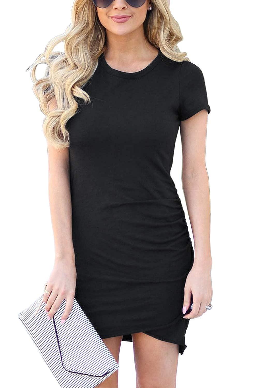Black Fantastic Zone Womens Short Sleeve Formal Dress Ruched Irregular Hem Summer Bodycon Mini Dress