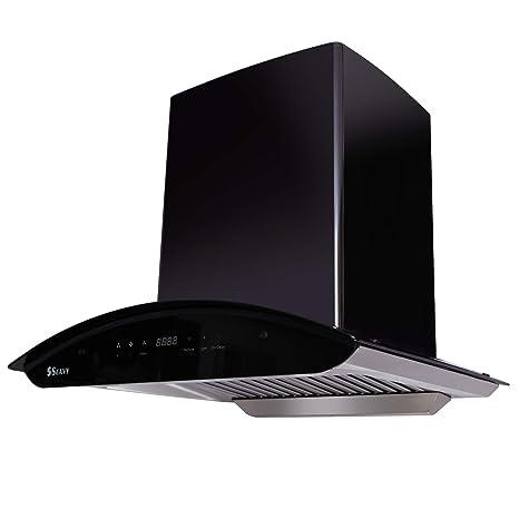 Seavy 60 cm 1200 m3/hr Auto Clean Chimney (Ciaz Titanium Black 60, 2 Baffle Filters, Touch Control, Black)