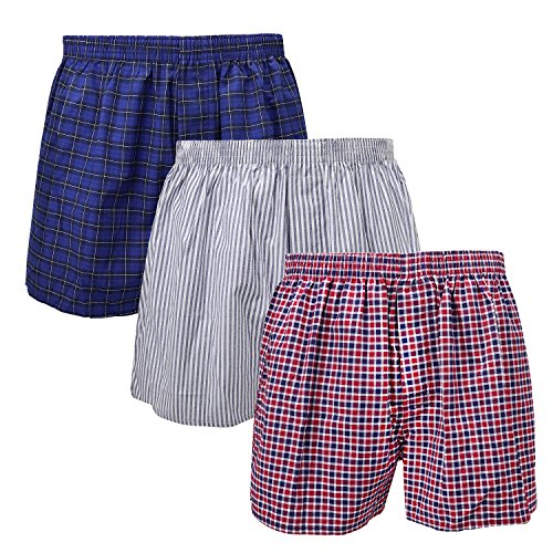 3-Pack Men's Boxer Underwear 100% Cotton Premium Quality 366-15-Medium by Falari