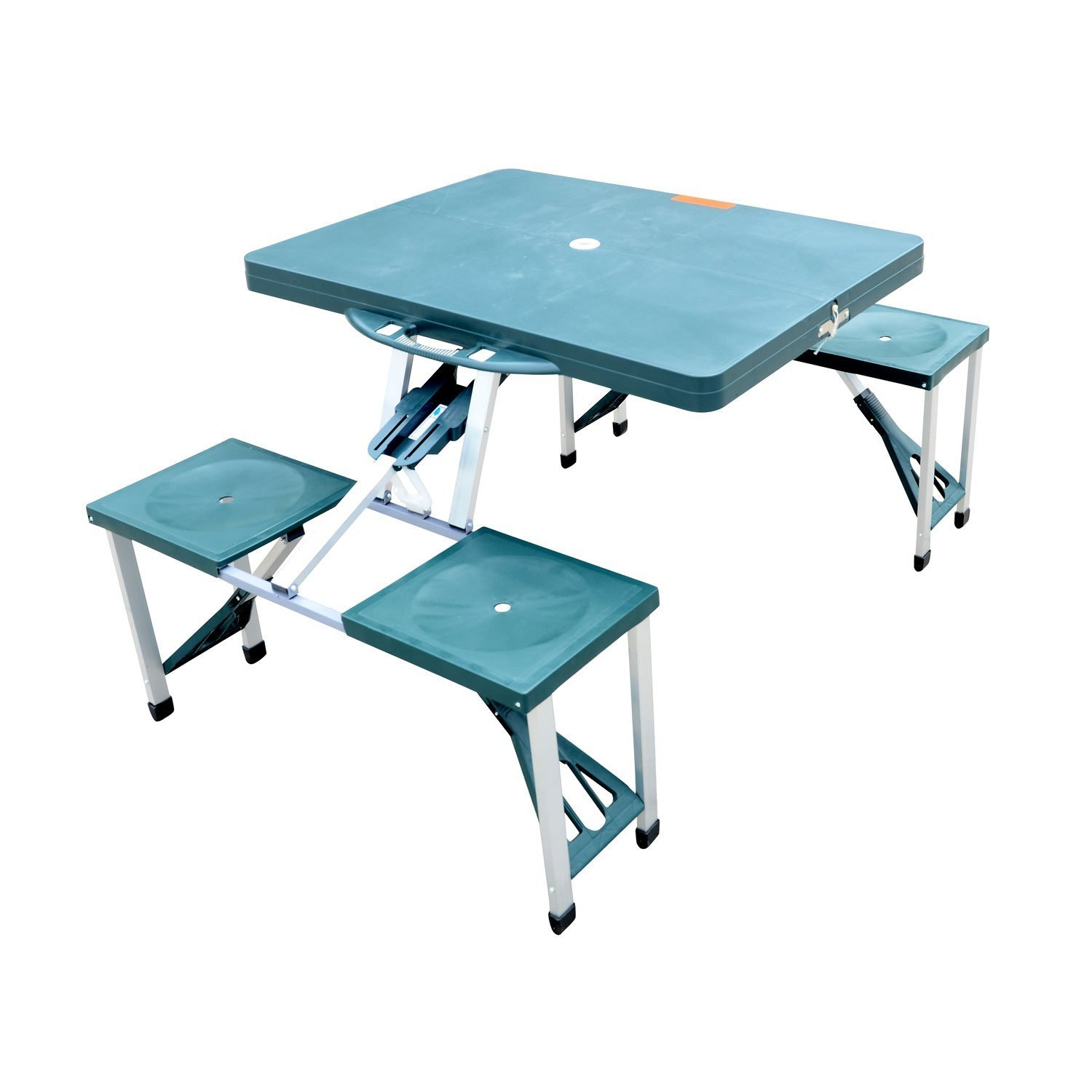 Amazon.com  Outsunny Portable Lightweight Folding Suitcase Picnic Table w/4 Built-In Chairs Green  Garden u0026 Outdoor  sc 1 st  Amazon.com : folding table set of 4 - pezcame.com