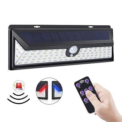 ERAY Luz Solar Exterior 92 LEDs con Sensor de Movimiento, Función de Alarma/Control Remoto/ 1200 Lúmenes/ 3 Modos Ajustables/ IP65 Impermeable, Luz de ...
