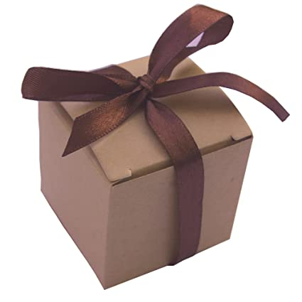 50Pcs Kraft Natural Gift BoxWedding Candy Boxes 2x2x2 Inch Rustic Brown Square