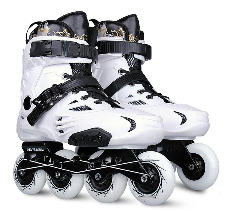 Inline Skates For Men Unisex Racing PP Material ABEC-9 Bearing Travel Urban Use White , 9.5 by WY