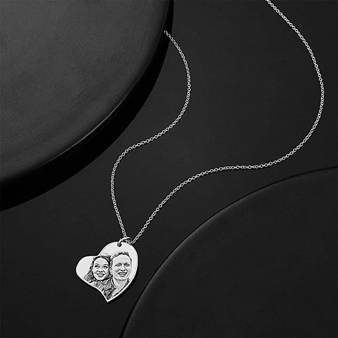GoCustomNow Photo Engraved Necklace Pet Tag Pendant Silver