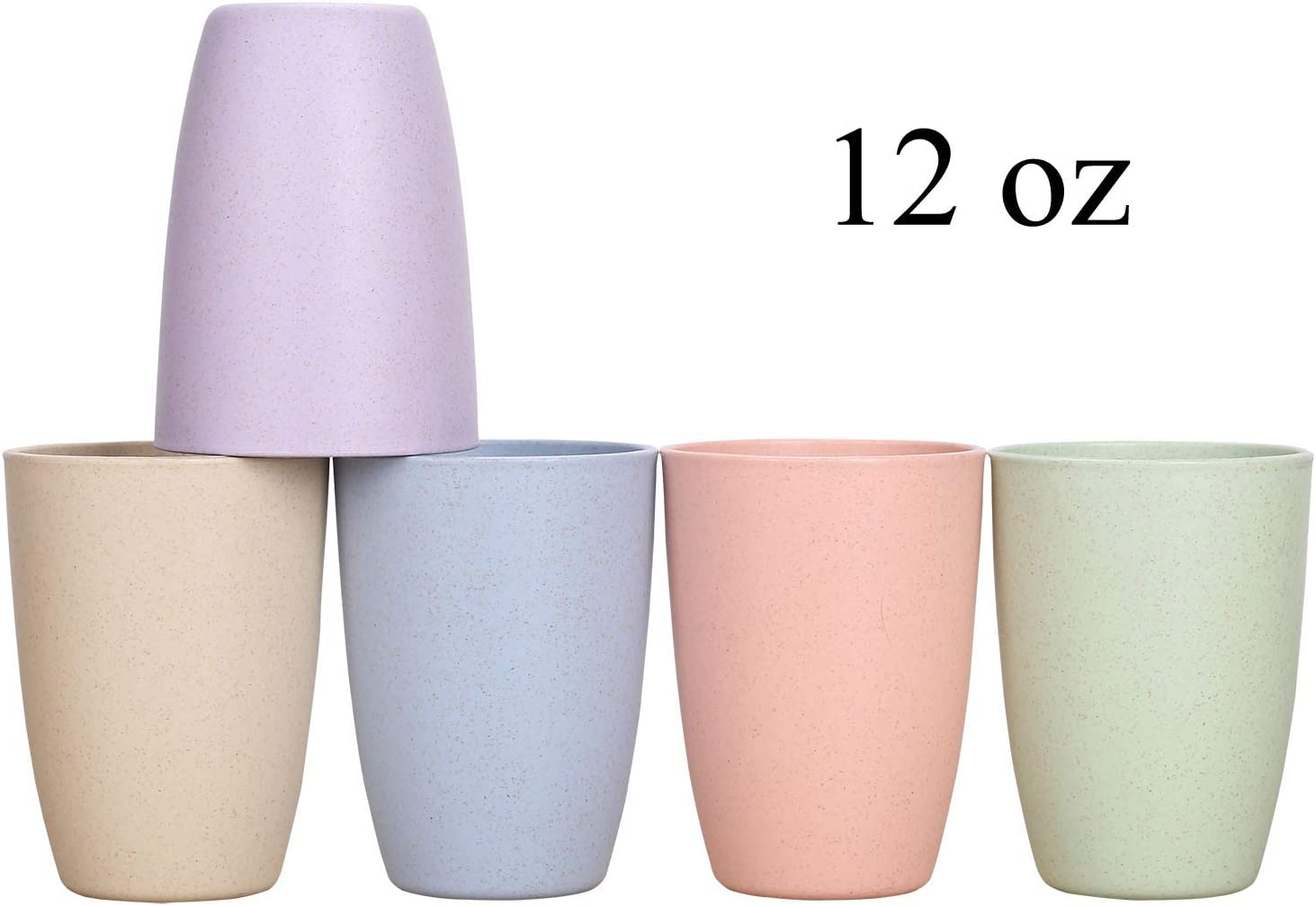Wheat Straw Unbreakable Cup (12 oz) - Reusable Drinking Glasses Set of 5 - Dishwasher Safe - Great for Kids Children Toddler & Adult - BPA Free & Eco-Friendly