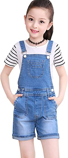 Laviqk Pantalones Cortos Largos Para Nina De 3 A 13 Anos Con Correa Ajustable Para Novio Jeans De Algodon Con Tirantes Color Azul Amazon Com Mx Ropa Zapatos Y Accesorios