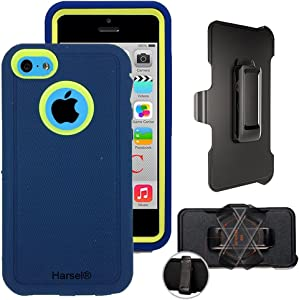 iPhone 5c with Belt Clip & Built-in Screen Protector Cover Harsel Heavy Duty Defender Shockproof Military Rubber Resistant Hybrid Outdoor Sport Tough Armor Case for iPhone 5C (Navy Green)