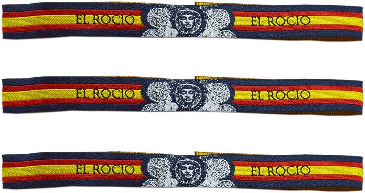 Pulsera Tela Virgen del Rocío - 3 Unidades - 30 X 1,50 cm: Amazon.es: Joyería