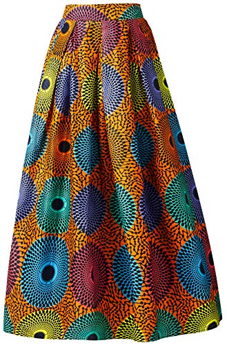Women African Traditional Costume Ankara Print Skirt Dashiki Long Skirts (X-Large,C)