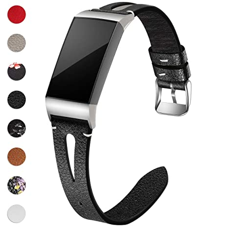Maledan Bands Compatible for Fitbit Charge 3 and Charge 3 SE Fitness  Activity Tracker, Slim Genuine Leather Band Replacement Accessories Strap  for