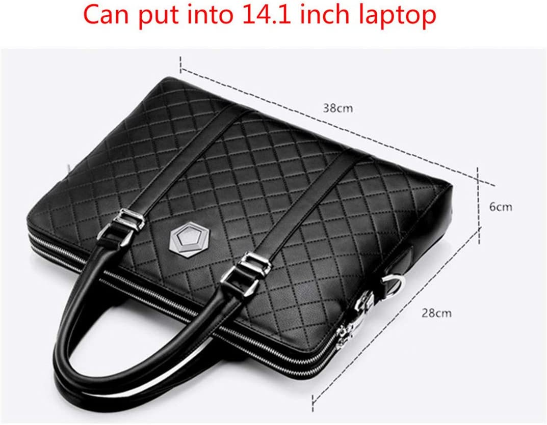 Men Business Briefcase Leather Handbag Coded Lock Shoulder Crossbody Messenger Double Layers Anti-Theft Bags Black
