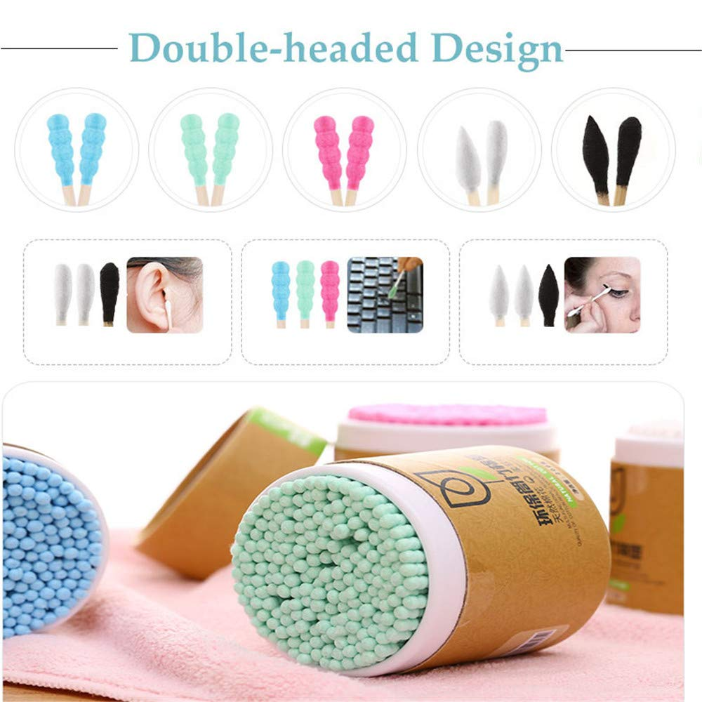 Disposable Bamboo Wood Health Care Cotton Swabs Applicator Tool Nose Ears Cleaning Buds Sticks 200Pcs//Box