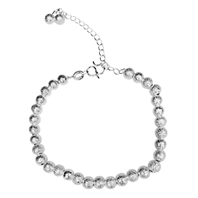 NANHONG Dainty Jewellery Beaded Charm Bracelet in 925 Sterling silver Hand Catenary with Gift Box 8PdELrks